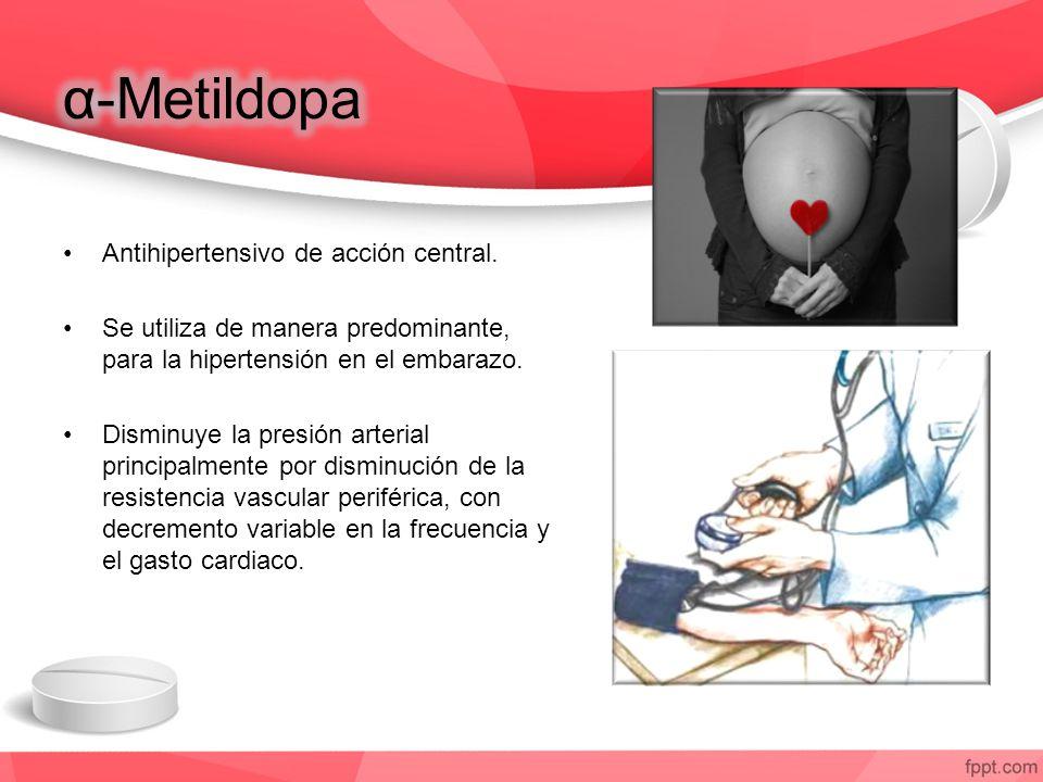 Antihipertensivo de acción central. Se utiliza de manera predominante, para la hipertensión en el embarazo. Disminuye la presión arterial principalmen