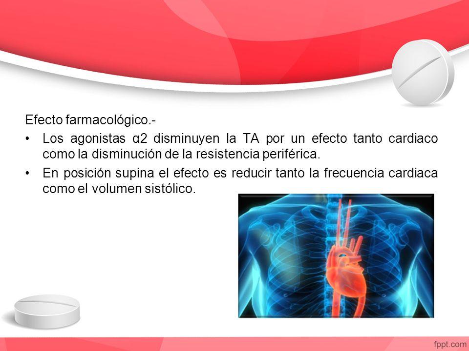 Efecto farmacológico.- Los agonistas α2 disminuyen la TA por un efecto tanto cardiaco como la disminución de la resistencia periférica.