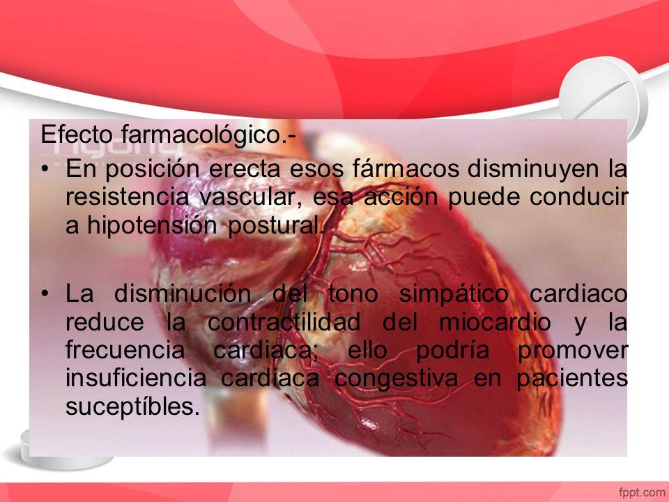 Efecto farmacológico.- En posición erecta esos fármacos disminuyen la resistencia vascular, esa acción puede conducir a hipotensión postural. La dismi