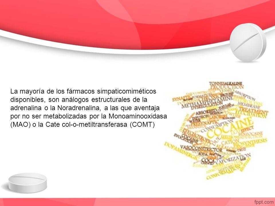 La mayoría de los fármacos simpaticomiméticos disponibles, son análogos estructurales de la adrenalina o la Noradrenalina, a las que aventaja por no ser metabolizadas por la Monoaminooxidasa (MAO) o la Cate col-o-metiltransferasa (COMT)