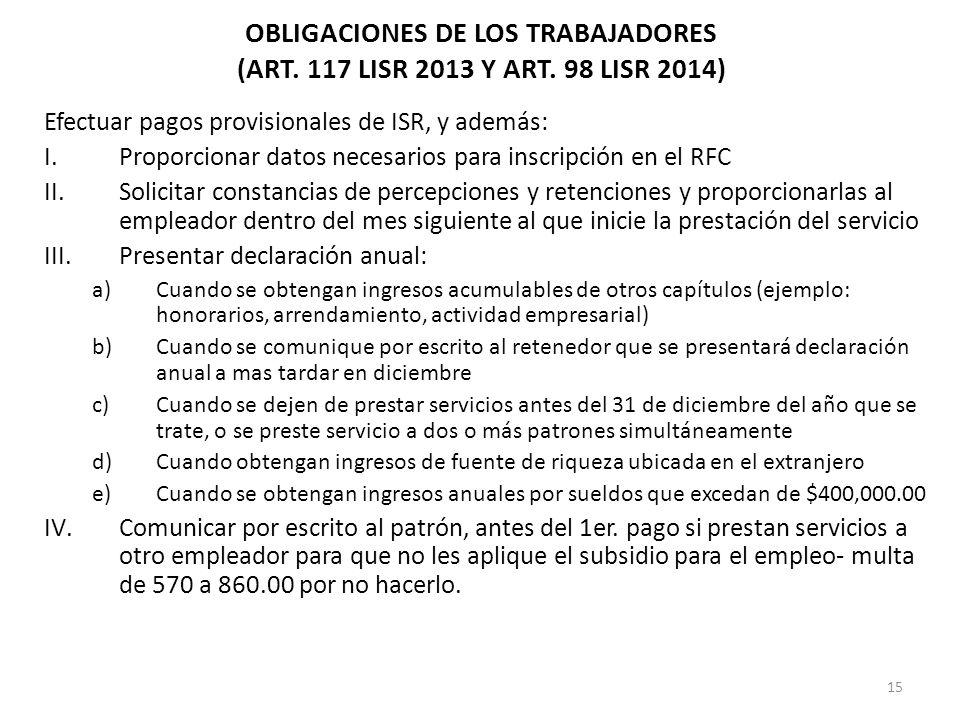 15 Efectuar pagos provisionales de ISR, y además: I.Proporcionar datos necesarios para inscripción en el RFC II.Solicitar constancias de percepciones