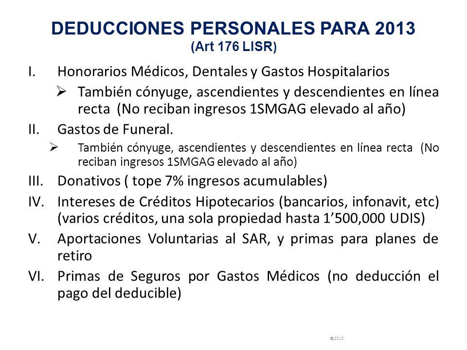 DEDUCCIONES PERSONALES PARA 2013 (Art 176 LISR ) I.Honorarios Médicos, Dentales y Gastos Hospitalarios También cónyuge, ascendientes y descendientes e