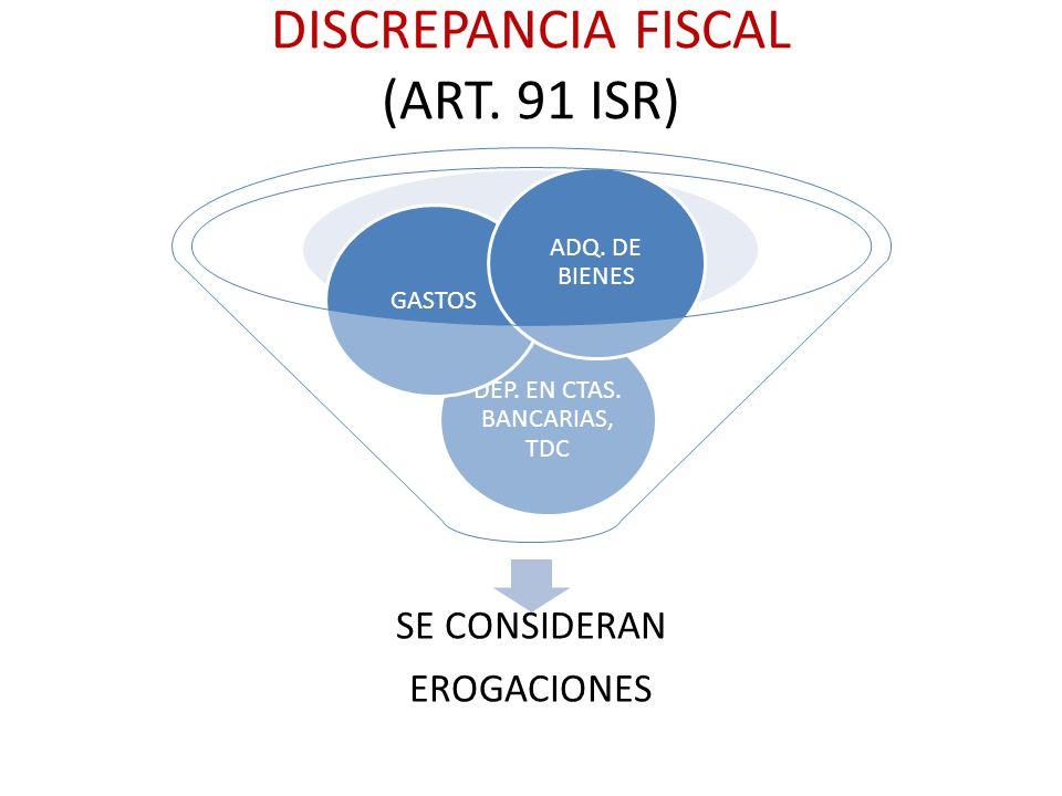 DISCREPANCIA FISCAL (ART. 91 ISR) SE CONSIDERAN EROGACIONES DEP. EN CTAS. BANCARIAS, TDC GASTOS ADQ. DE BIENES