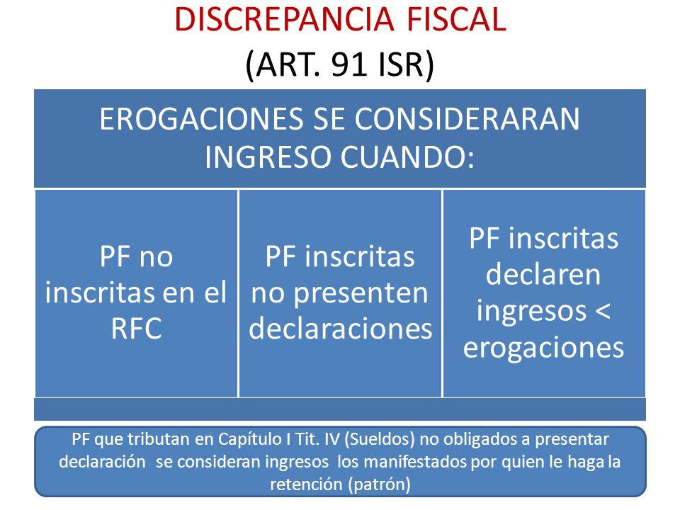 DISCREPANCIA FISCAL (ART. 91 ISR) EROGACIONES SE CONSIDERARAN INGRESO CUANDO: PF no inscritas en el RFC PF inscritas no presenten declaraciones PF ins