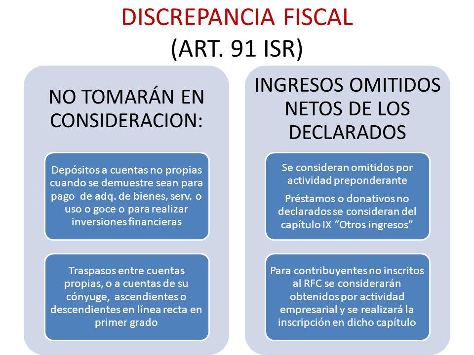 DISCREPANCIA FISCAL (ART. 91 ISR) NO TOMARÁN EN CONSIDERACION: Depósitos a cuentas no propias cuando se demuestre sean para pago de adq. de bienes, se
