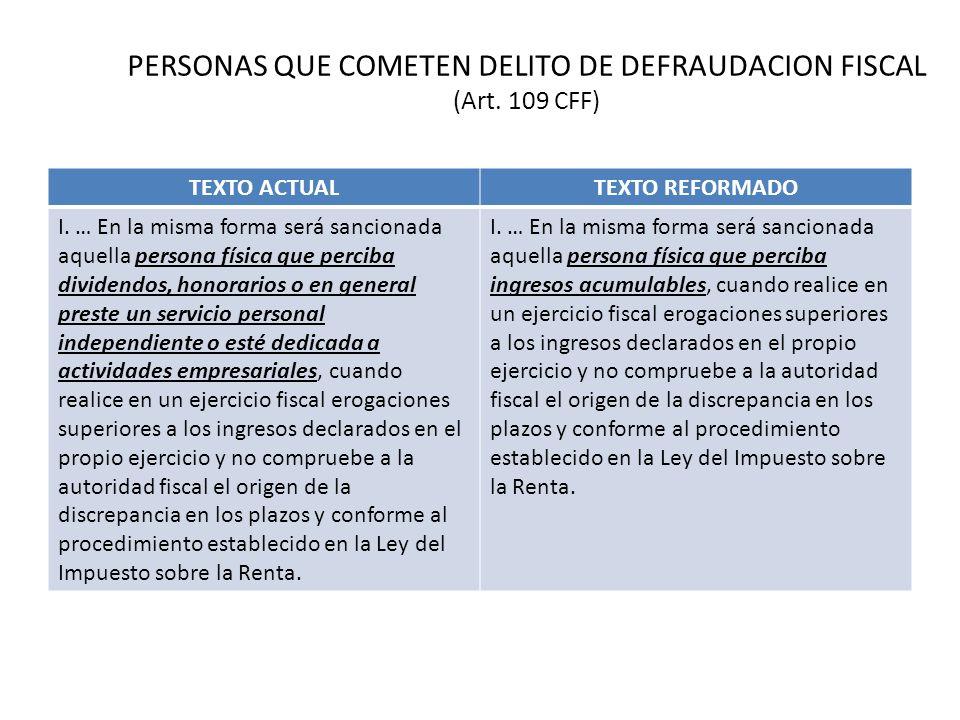 PERSONAS QUE COMETEN DELITO DE DEFRAUDACION FISCAL (Art. 109 CFF) TEXTO ACTUALTEXTO REFORMADO I. … En la misma forma será sancionada aquella persona f