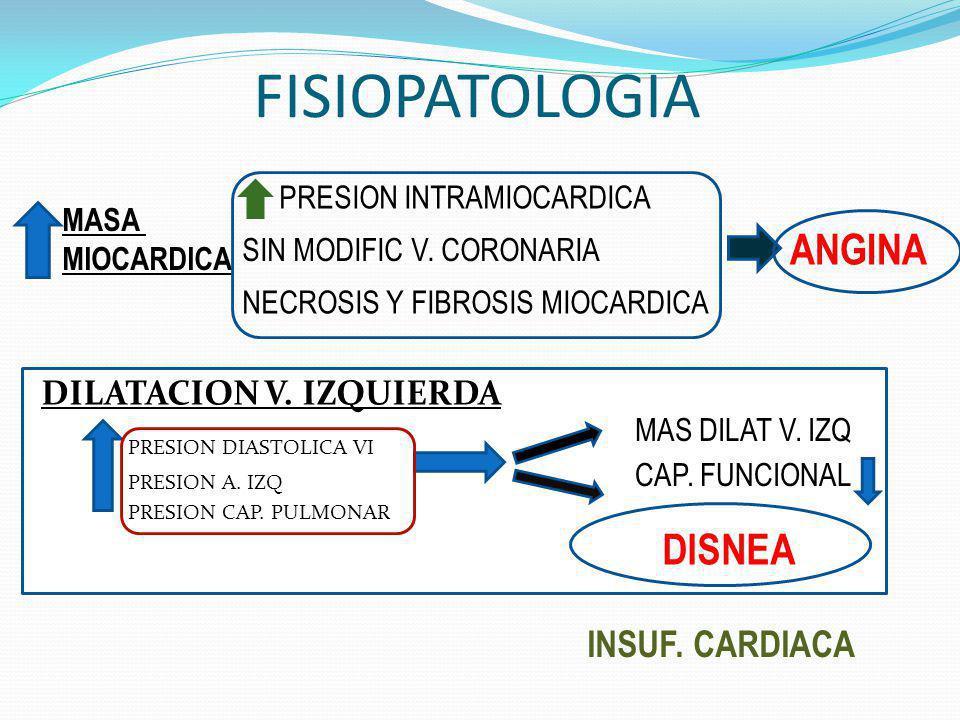 FISIOPATOLOGIA DILATACION V. IZQUIERDA PRESION DIASTOLICA VI PRESION A. IZQ PRESION CAP. PULMONAR CAP. FUNCIONAL MAS DILAT V. IZQ ANGINA MASA MIOCARDI