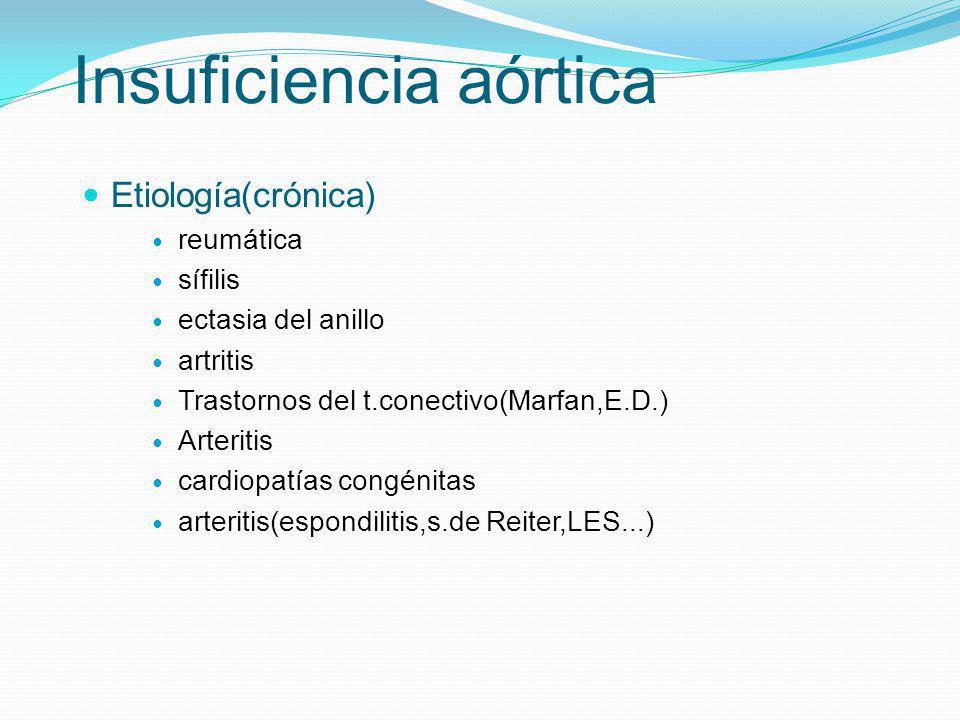 Insuficiencia aórtica Etiología(crónica) reumática sífilis ectasia del anillo artritis Trastornos del t.conectivo(Marfan,E.D.) Arteritis cardiopatías