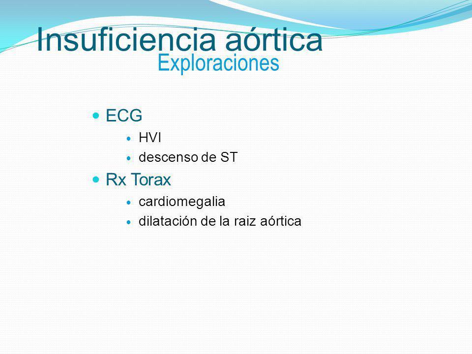 Insuficiencia aórtica ECG HVI descenso de ST Rx Torax cardiomegalia dilatación de la raiz aórtica Exploraciones