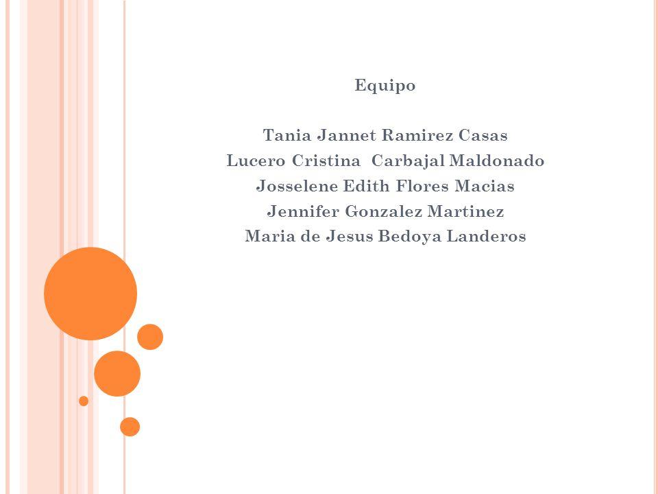 Equipo Tania Jannet Ramirez Casas Lucero Cristina Carbajal Maldonado Josselene Edith Flores Macias Jennifer Gonzalez Martinez Maria de Jesus Bedoya La