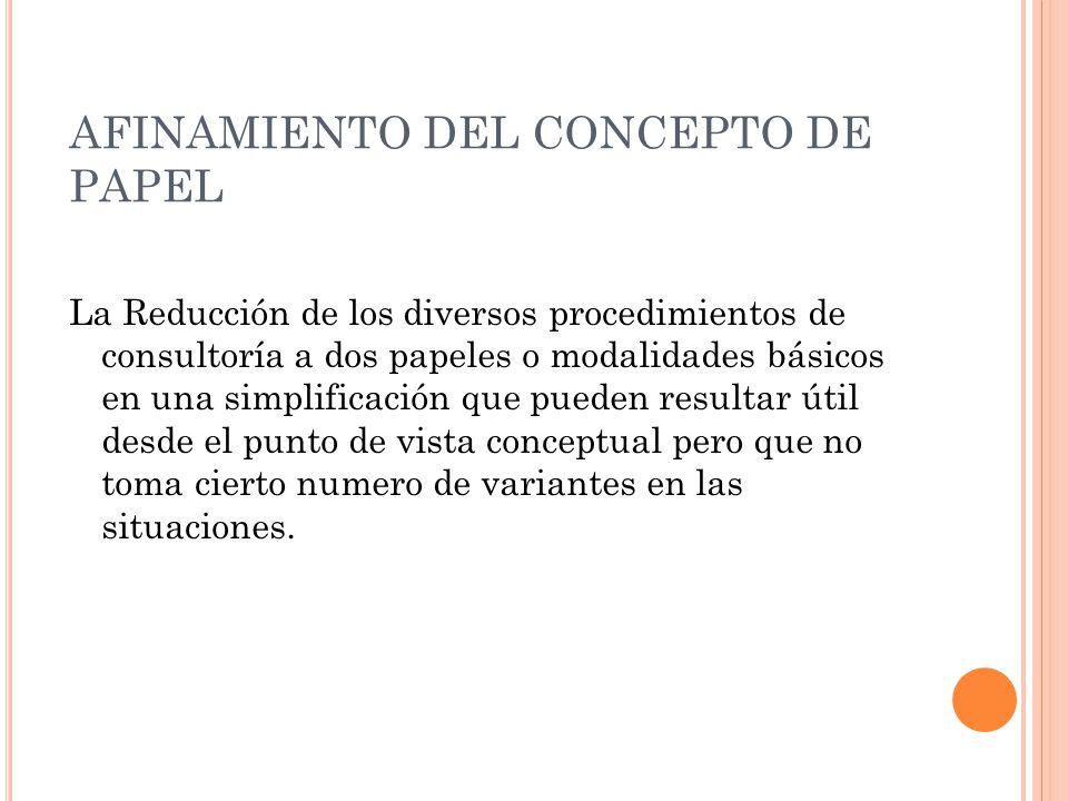 AFINAMIENTO DEL CONCEPTO DE PAPEL La Reducción de los diversos procedimientos de consultoría a dos papeles o modalidades básicos en una simplificación
