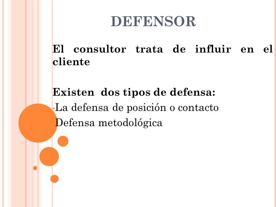 DEFENSOR El consultor trata de influir en el cliente Existen dos tipos de defensa: La defensa de posición o contacto Defensa metodológica