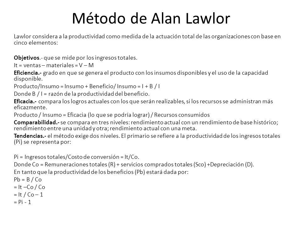Método de Alan Lawlor Lawlor considera a la productividad como medida de la actuación total de las organizaciones con base en cinco elementos: Objetivos.- que se mide por los ingresos totales.