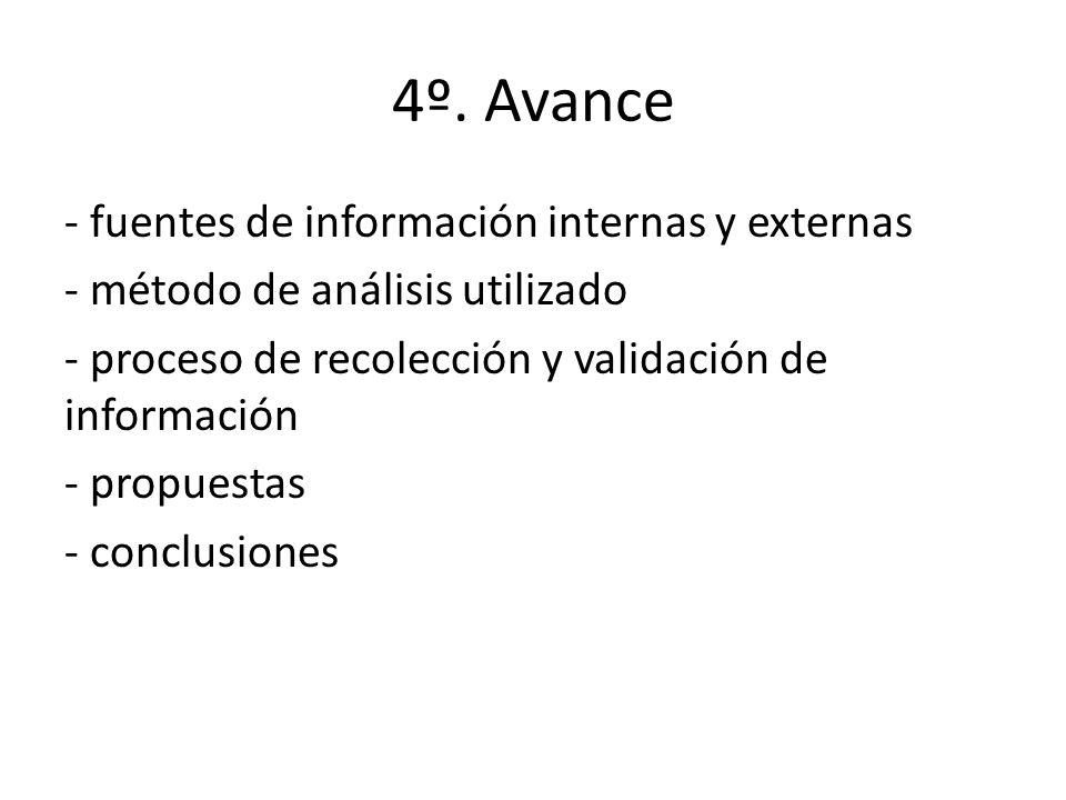 4º. Avance - fuentes de información internas y externas - método de análisis utilizado - proceso de recolección y validación de información - propuest