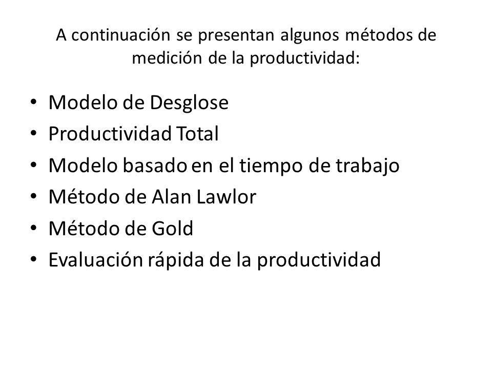 A continuación se presentan algunos métodos de medición de la productividad: Modelo de Desglose Productividad Total Modelo basado en el tiempo de trabajo Método de Alan Lawlor Método de Gold Evaluación rápida de la productividad