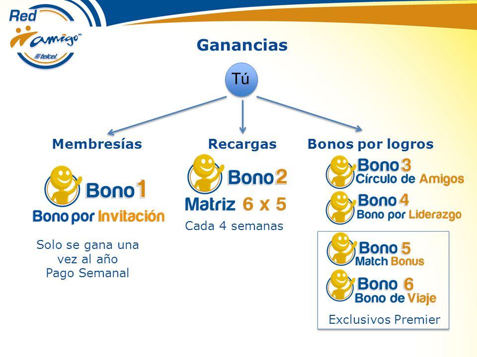 Ganancias Tú Membresías Solo se gana una vez al año Pago Semanal Recargas Cada 4 semanas Bonos por logros Exclusivos Premier