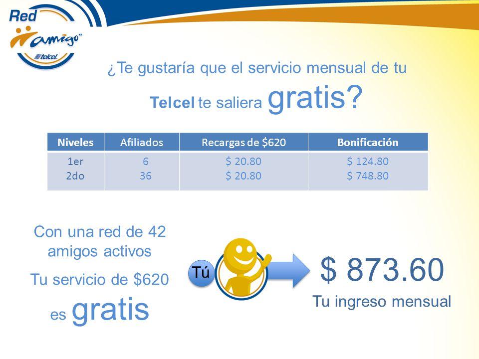 NivelesAfiliadosRecargas de $620Bonificación 1er 2do 6 36 $ 20.80 $ 124.80 $ 748.80 ¿Te gustaría que el servicio mensual de tu Telcel te saliera gratis.