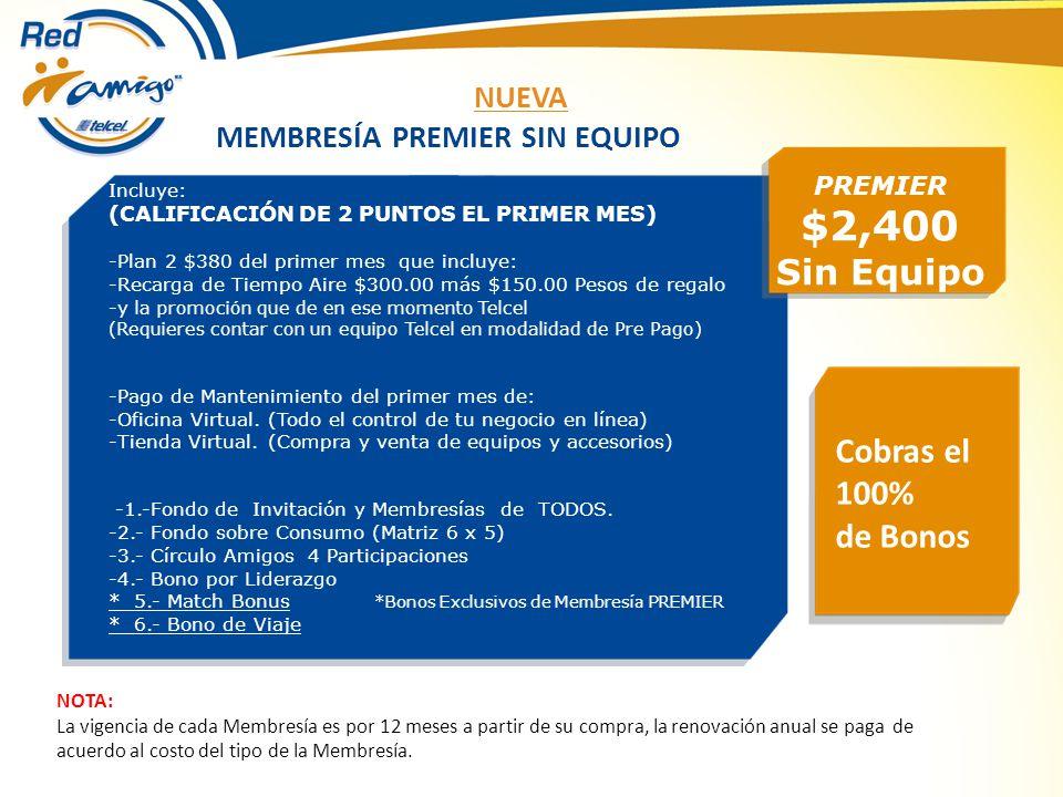 MEMBRESÍA BÁSICA $500 Kit DVD y manual Adicional con envío $150 APARTA TU LUGAR EN LA RED COBRA APROX UN 20% DE LOS BONOS PUEDES ESCALAR A LA MEMBRESÍA PREMIER EN CUALQUIER MOMENTO Y GOZAR DE TODOS LOS BENEFICIOS Incluye: -Plan 1 $260 del primer mes que incluye: -Recarga de Tiempo Aire $200.00 más $60.00 Pesos de regalo (Requieres un equipo Telcel en modalidad de Pre Pago) -Pago de Mantenimiento del primer mes de: -Oficina Virtual.
