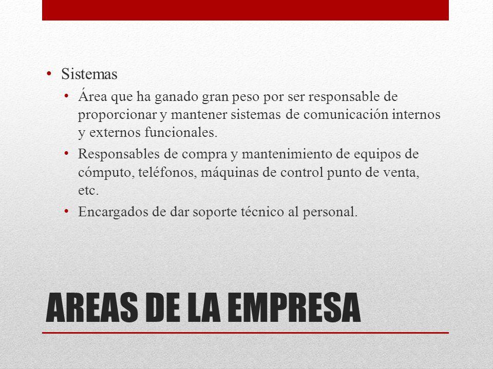 AREAS DE LA EMPRESA Sistemas Área que ha ganado gran peso por ser responsable de proporcionar y mantener sistemas de comunicación internos y externos funcionales.