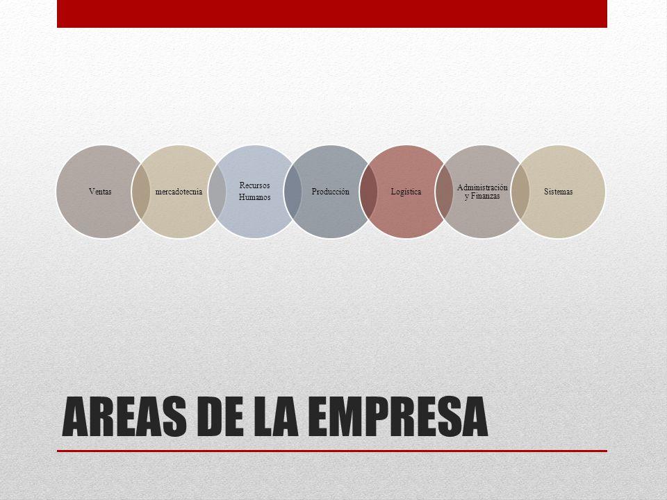 AREAS DE LA EMPRESA Ventasmercadotecnia Recursos Humanos ProducciónLogística Administración y Finanzas Sistemas