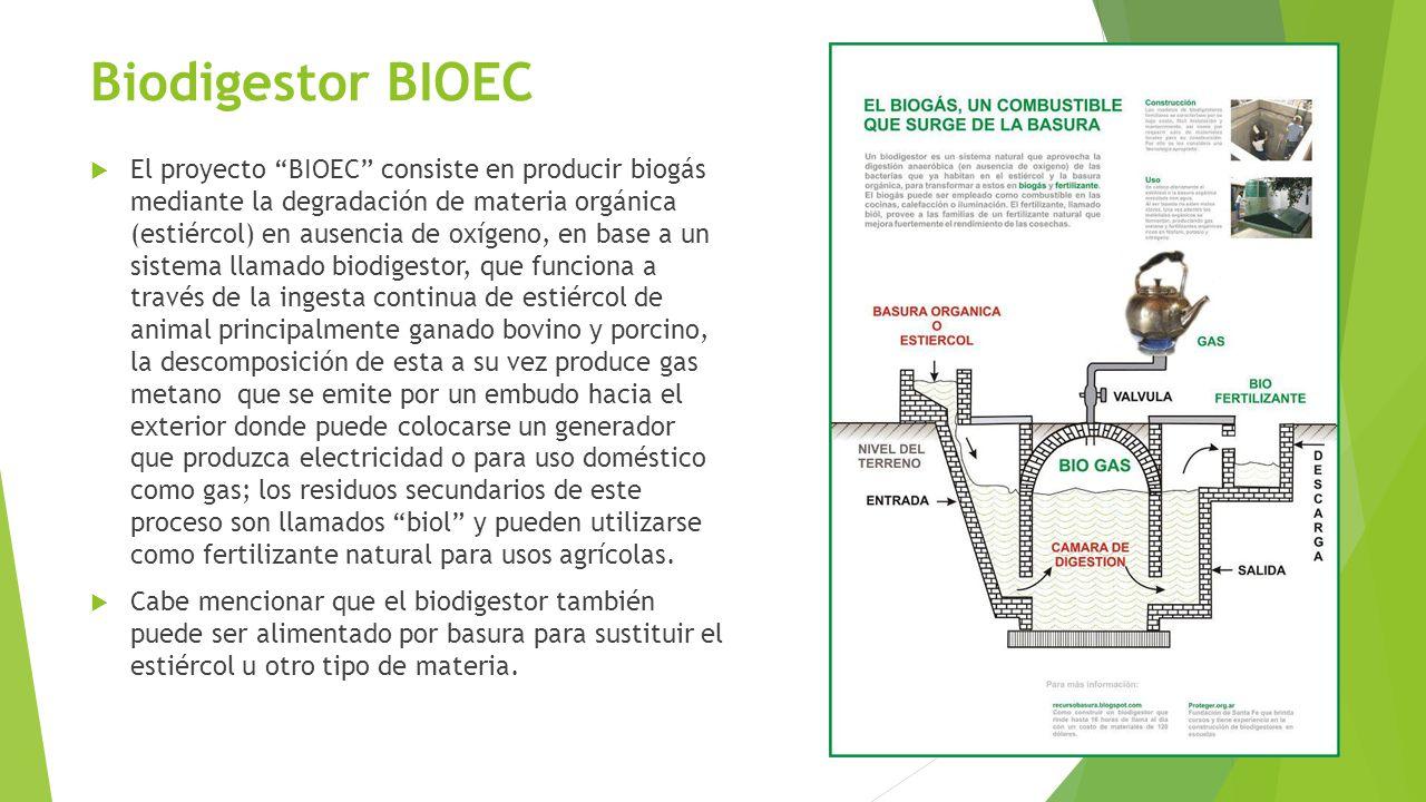Biodigestor BIOEC El proyecto BIOEC consiste en producir biogás mediante la degradación de materia orgánica (estiércol) en ausencia de oxígeno, en bas