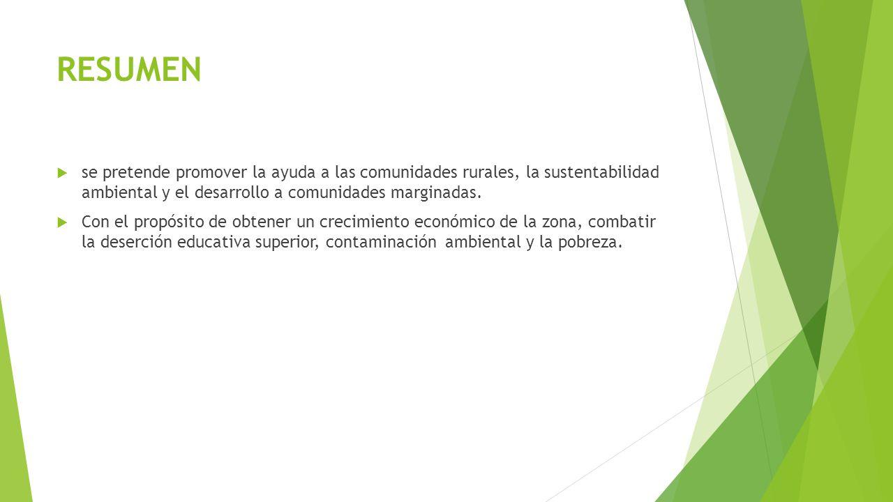 Proyectos a desarrollar Se esquematizan los proyectos en el orden en que se pueden ir realizando a corto plazo sistema de recolección de basura, universidad a distancia, energías renovables y como consecuencia aumentar el turismo hacia la zona para desencadenar en una derrama económica que contribuya al desarrollo de la localidad.