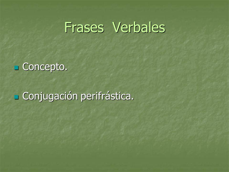 Estructura de la Perífrasis Verbo auxiliar Verbo auxiliar + Que, o preposición Que, o preposición + Infinitivo, gerundio o participio Infinitivo, gerundio o participio