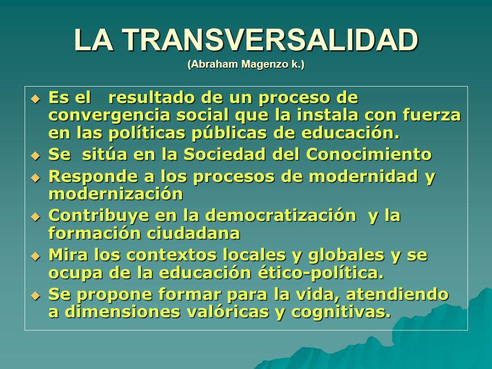 LA TRANSVERSALIDAD (Abraham Magenzo k.) Es el resultado de un proceso de convergencia social que la instala con fuerza en las políticas públicas de ed