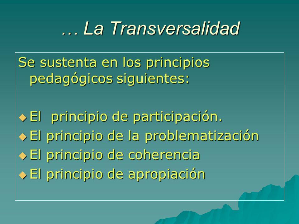 … La Transversalidad Se sustenta en los principios pedagógicos siguientes: El principio de participación. El principio de participación. El principio