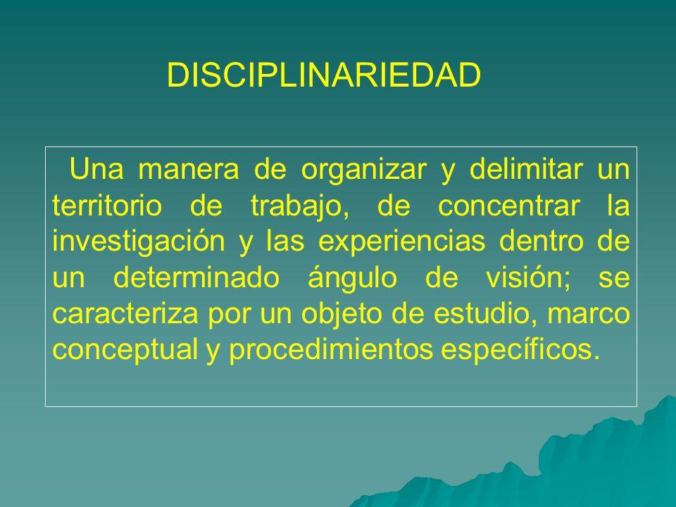 DISCIPLINARIEDAD Una manera de organizar y delimitar un territorio de trabajo, de concentrar la investigaci ó n y las experiencias dentro de un determ