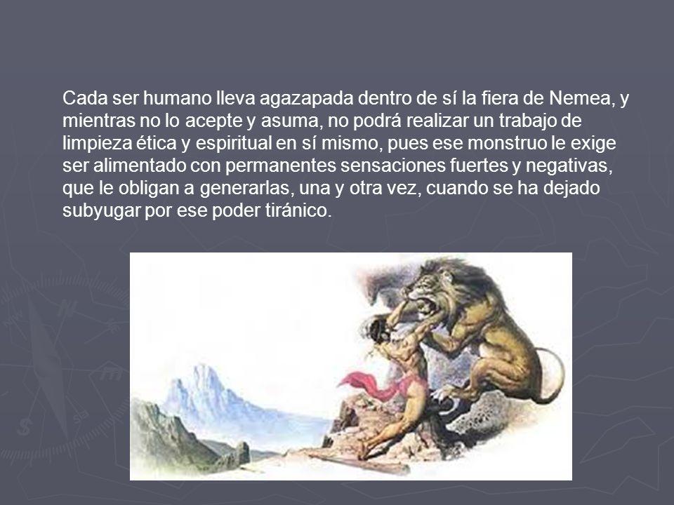 CAPTURA Y MUERTE DEL LEÓN DE NEMEA El león representa lo instintivo. Es la irrupción de las ambiciones injustas y atropelladoras, es la fuerza ancestr