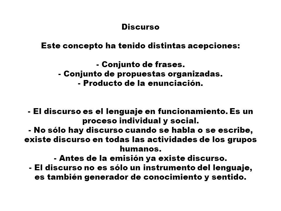Discurso Este concepto ha tenido distintas acepciones: - Conjunto de frases. - Conjunto de propuestas organizadas. - Producto de la enunciación. - El