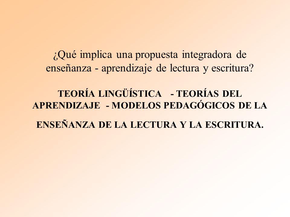 ¿Qué implica una propuesta integradora de enseñanza - aprendizaje de lectura y escritura? TEORÍA LINGÜÍSTICA - TEORÍAS DEL APRENDIZAJE - MODELOS PEDAG