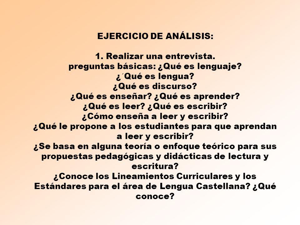 EJERCICIO DE ANÁLISIS: 1. Realizar una entrevista. preguntas básicas: ¿Qué es lenguaje? ¿´Qué es lengua? ¿Qué es discurso? ¿Qué es enseñar? ¿Qué es ap