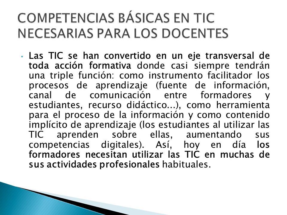 Integración de recursos TIC (como instrumento, como recurso didáctico y como contenido de aprendizaje) en los planes docentes y programas formativos..