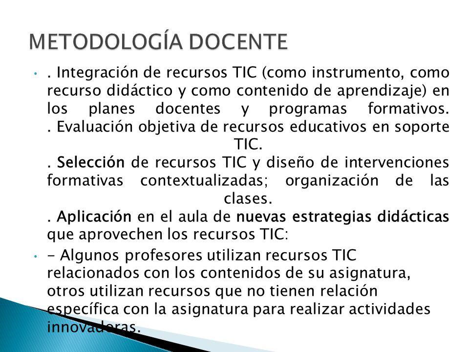 . Integración de recursos TIC (como instrumento, como recurso didáctico y como contenido de aprendizaje) en los planes docentes y programas formativos