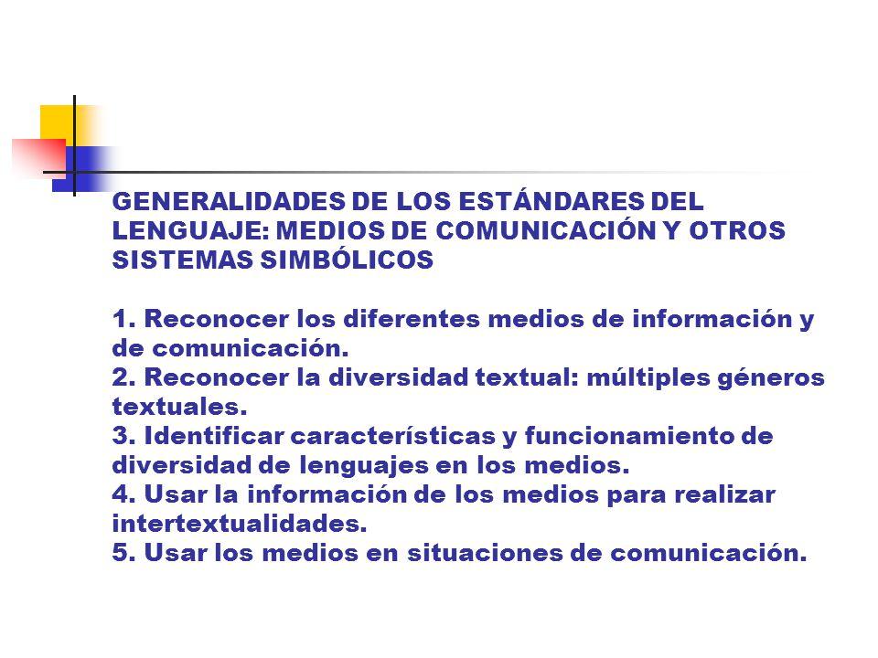 GENERALIDADES DE LOS ESTÁNDARES DEL LENGUAJE: MEDIOS DE COMUNICACIÓN Y OTROS SISTEMAS SIMBÓLICOS 1.