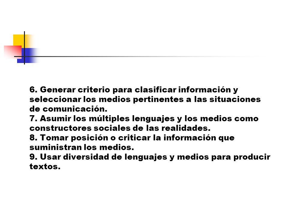 6. Generar criterio para clasificar información y seleccionar los medios pertinentes a las situaciones de comunicación. 7. Asumir los múltiples lengua