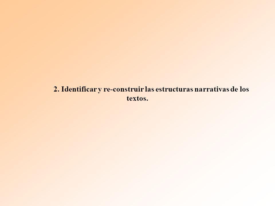 2. Identificar y re-construir las estructuras narrativas de los textos.