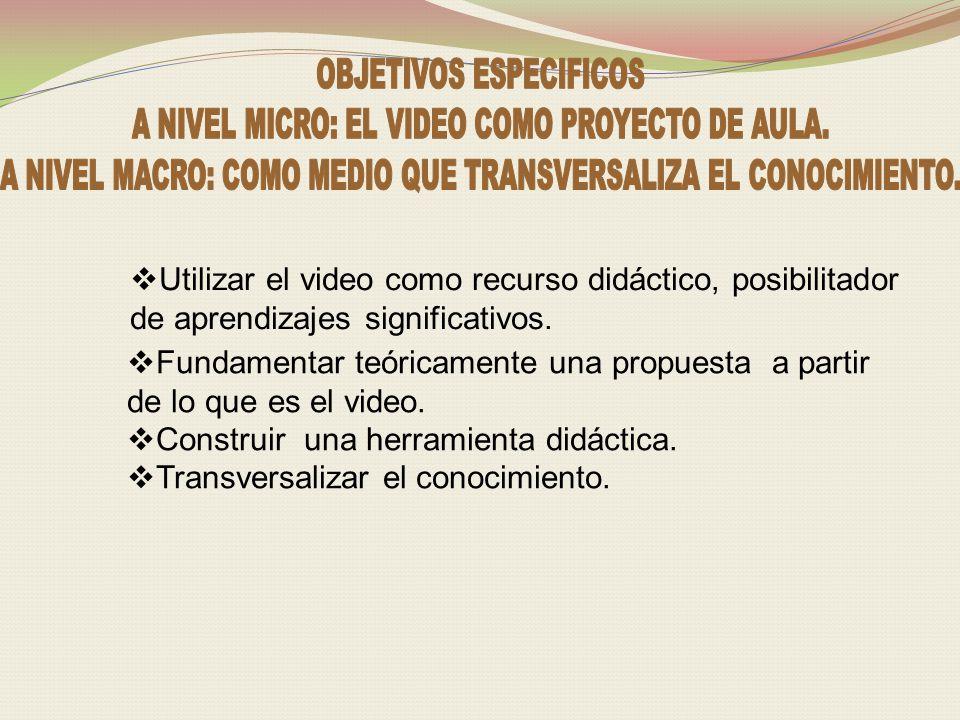 Utilizar el video como recurso didáctico, posibilitador de aprendizajes significativos.