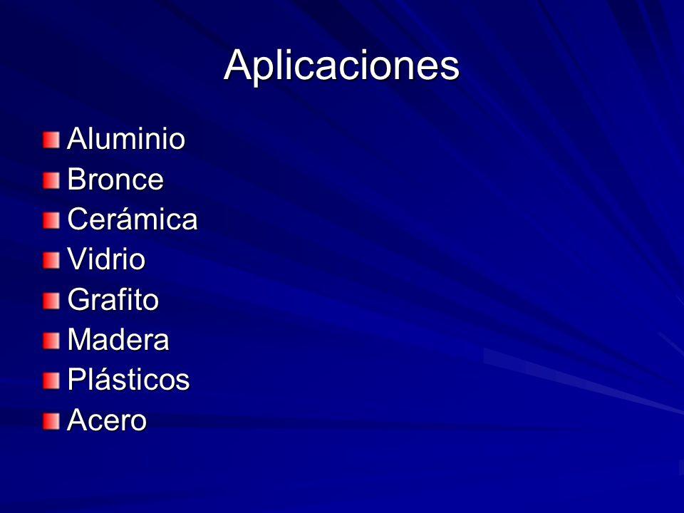 Aplicaciones AluminioBronceCerámicaVidrioGrafitoMaderaPlásticosAcero