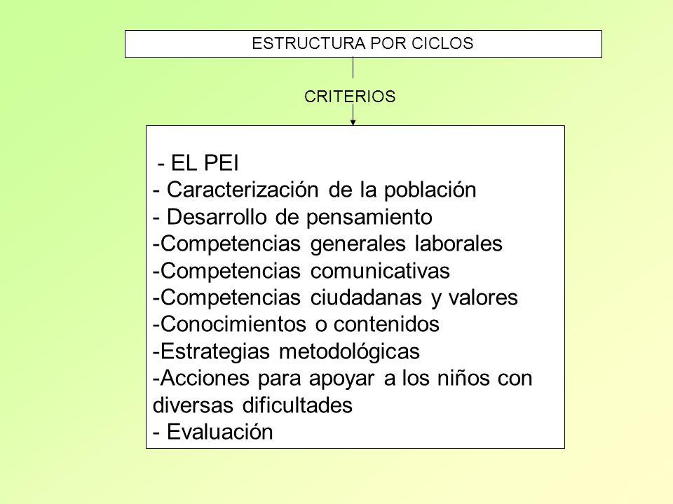 - EL PEI - Caracterización de la población - Desarrollo de pensamiento -Competencias generales laborales -Competencias comunicativas -Competencias ciu