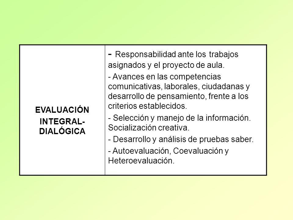 EVALUACIÓN INTEGRAL- DIALÓGICA - Responsabilidad ante los trabajos asignados y el proyecto de aula. - Avances en las competencias comunicativas, labor