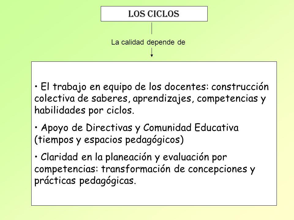 Los ciclos La calidad depende de El trabajo en equipo de los docentes: construcción colectiva de saberes, aprendizajes, competencias y habilidades por