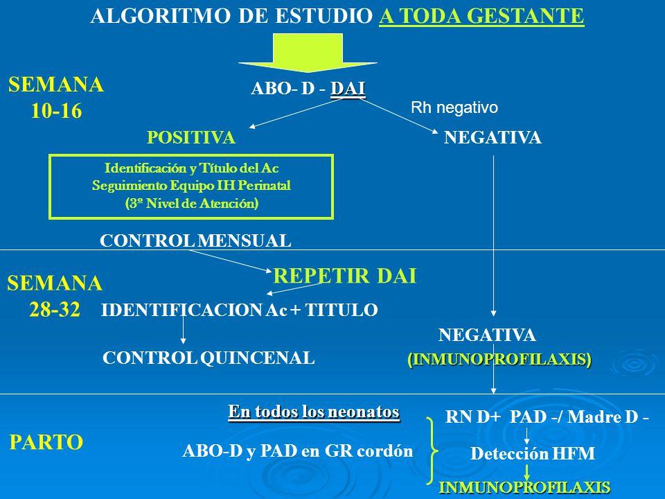 ALGORITMO DE ESTUDIO A TODA GESTANTE DAI ABO- D - DAI POSITIVANEGATIVA CONTROL MENSUAL CONTROL QUINCENAL REPETIR DAI NEGATIVA SEMANA 10-16 SEMANA 28-3