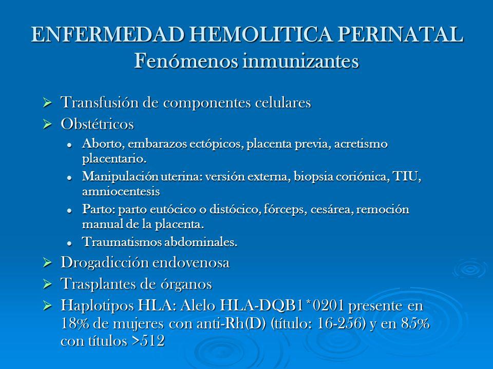 ENFERMEDAD HEMOLITICA PERINATAL Fenómenos inmunizantes Transfusión de componentes celulares Transfusión de componentes celulares Obstétricos Obstétric