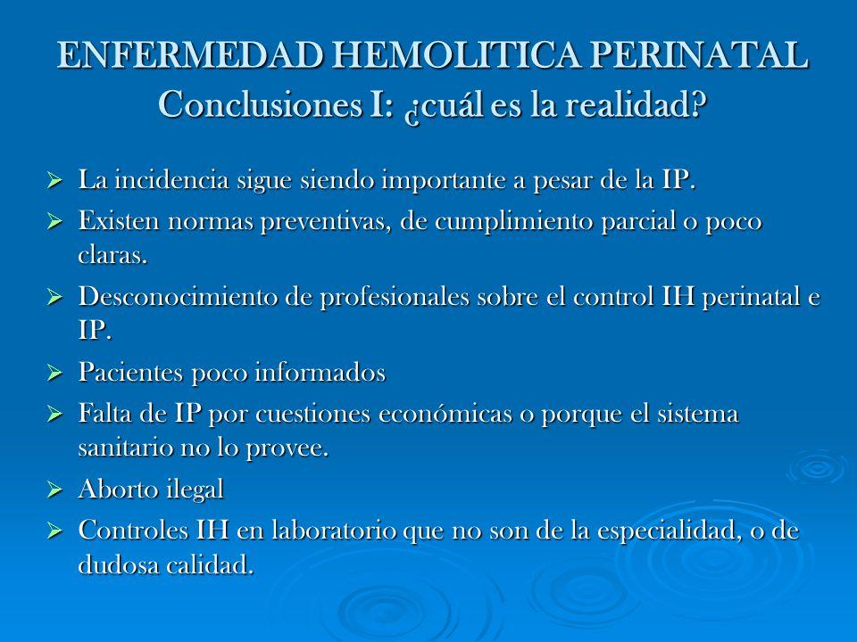 ENFERMEDAD HEMOLITICA PERINATAL Conclusiones I: ¿cuál es la realidad? La incidencia sigue siendo importante a pesar de la IP. La incidencia sigue sien