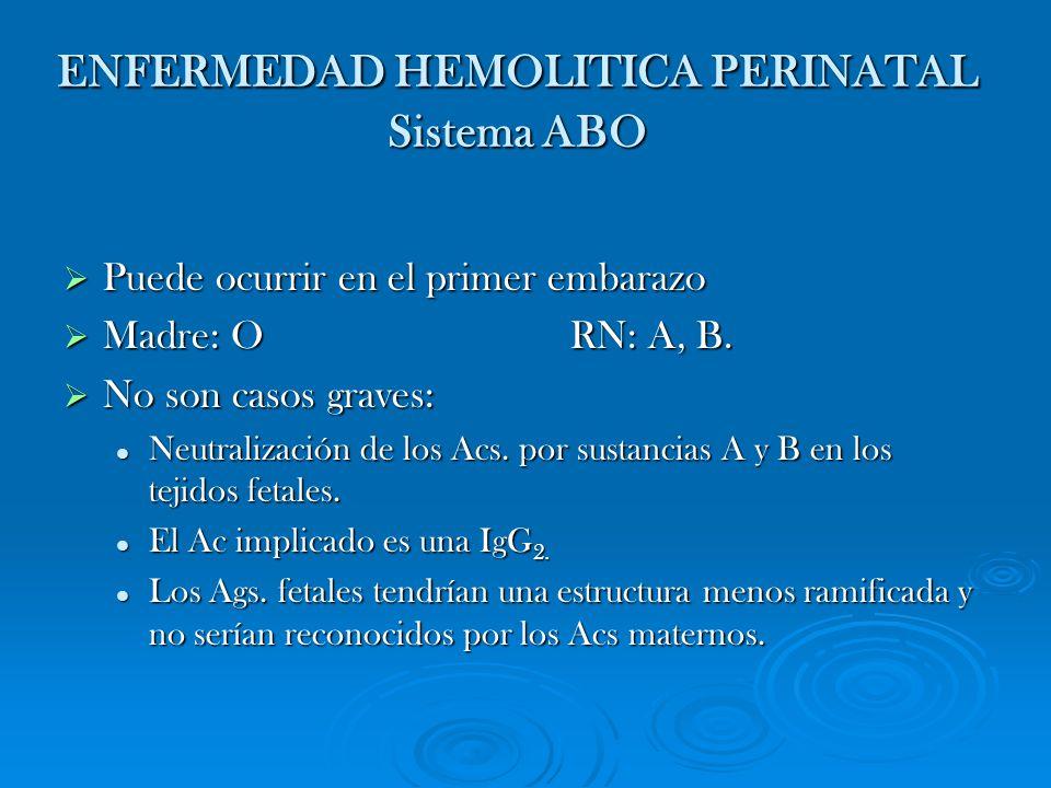 ENFERMEDAD HEMOLITICA PERINATAL Sistema ABO Puede ocurrir en el primer embarazo Puede ocurrir en el primer embarazo Madre: O RN: A, B. Madre: O RN: A,