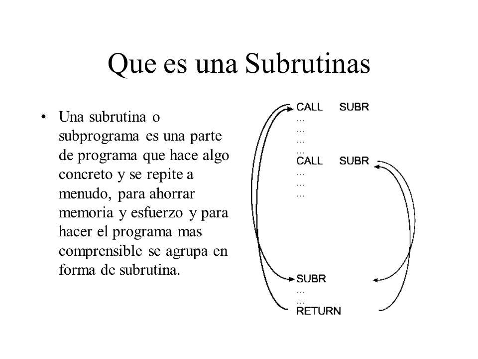 Que es una Subrutinas Una subrutina o subprograma es una parte de programa que hace algo concreto y se repite a menudo, para ahorrar memoria y esfuerzo y para hacer el programa mas comprensible se agrupa en forma de subrutina.