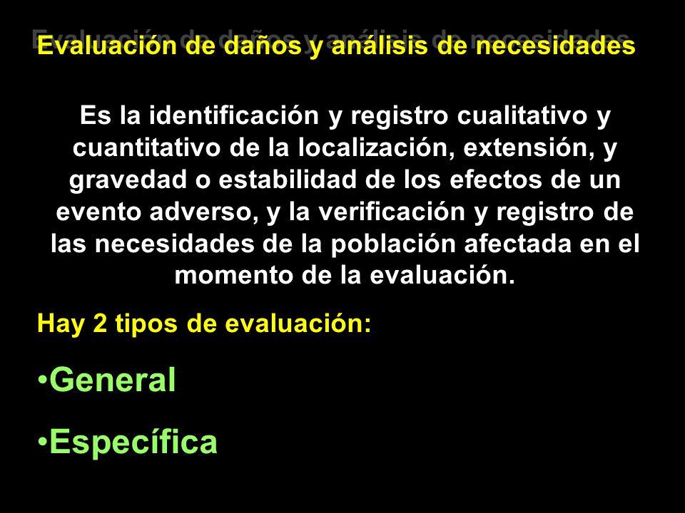 Evaluación de daños y análisis de necesidades Es la identificación y registro cualitativo y cuantitativo de la localización, extensión, y gravedad o e